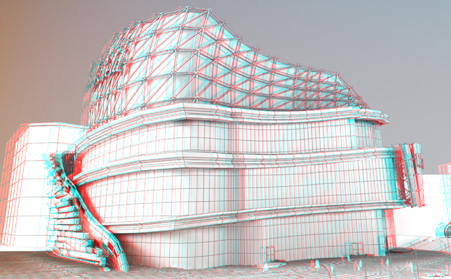 Westfield shopping centre stereoscopic 3D rendering